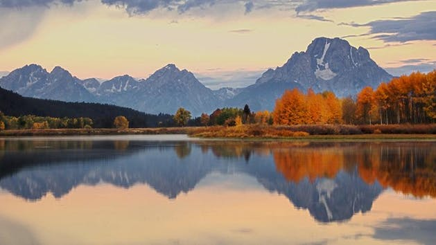 sunrise in autumn in grand teton
