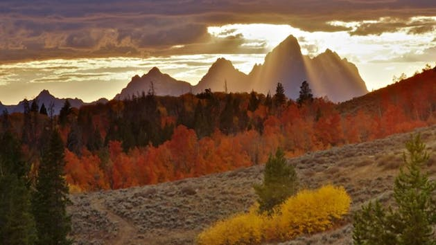 sunset in autumn in grand tetons