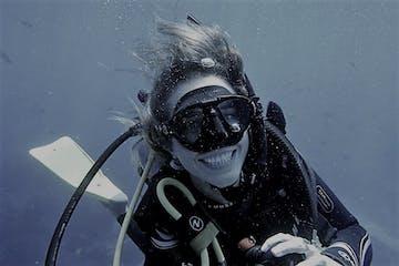 Smiling scuba diver