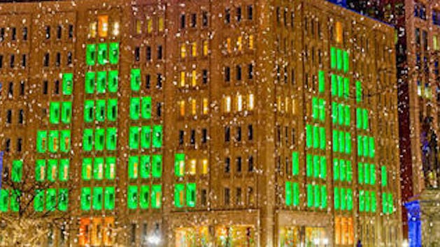 Holiday city lights in Indianapolis