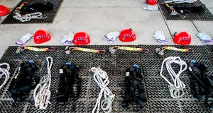 helmets and zipline equipment