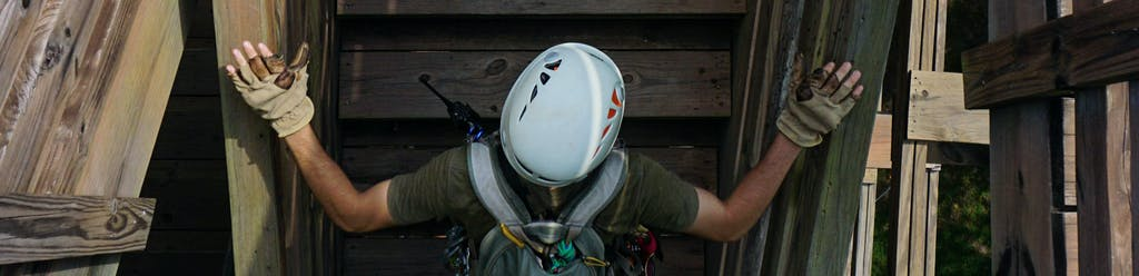 Man ready for an outdoor ziplining adventure at Canaan Zipline Canopy Tours near Charlotte, NC