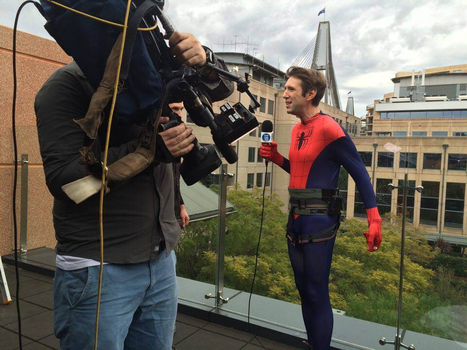 Robbo Abseils Down The Channel TEN Building Studio10 Live Cross