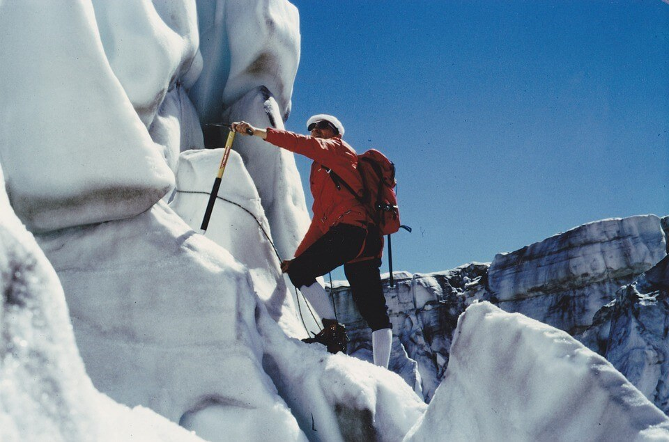 Advanced mountaineering often involves steep, icy climbs.