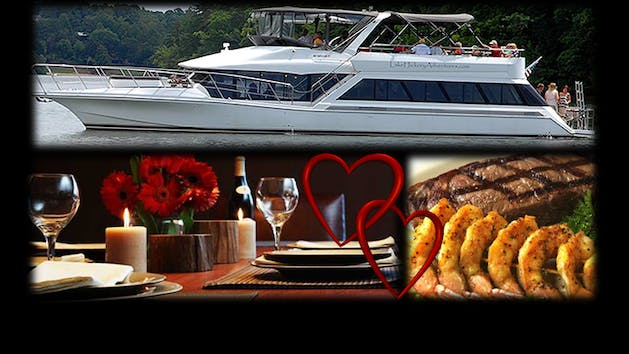 Valentine's Day food, wine, and cruise collage