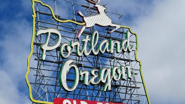 Iconic Portland, Oregon sign in downtown Portland