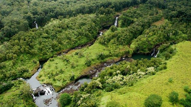 Flying Over Waterfalls