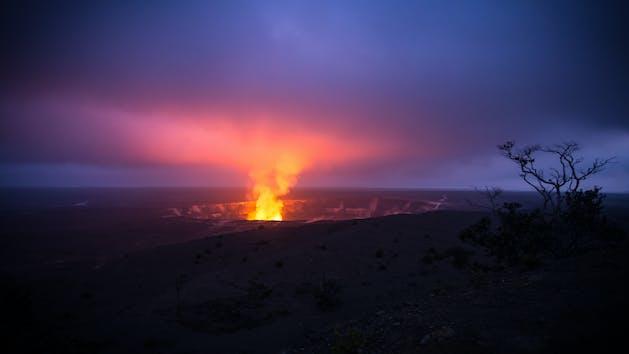 Night Volcano Glow