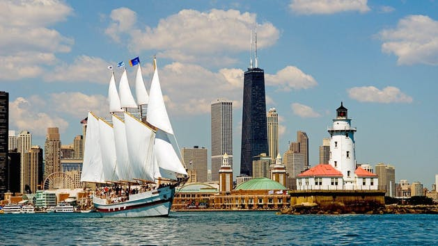 The Tall ship windy in front of the Chicago skyline