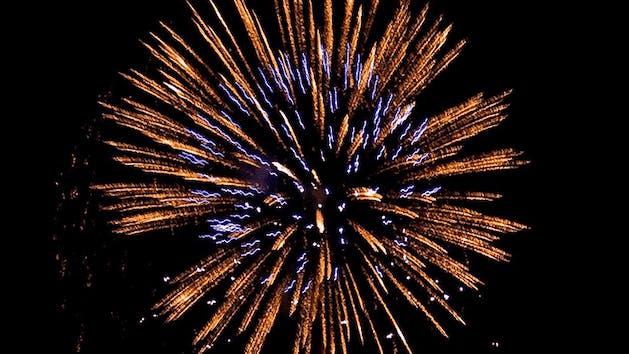 A large fireworks burst