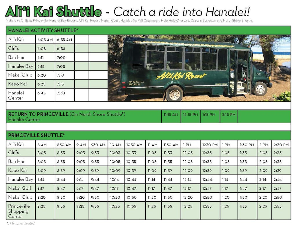 Hanalei activity shuttle