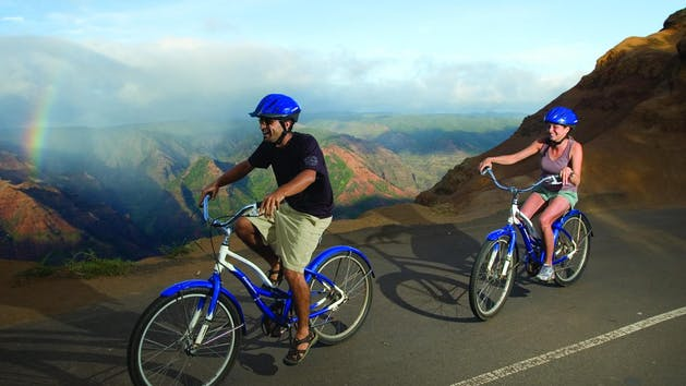 Biking-Along-Waimea-Canyon-Road-in-Kauai