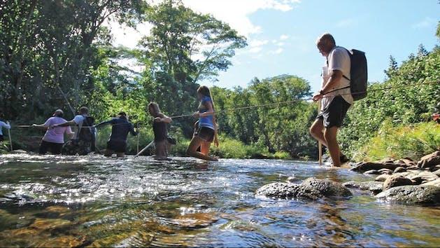 Hiking-Across-Wailua-River