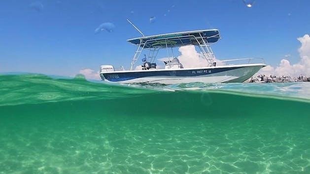 Snorkel tour boat on ocean