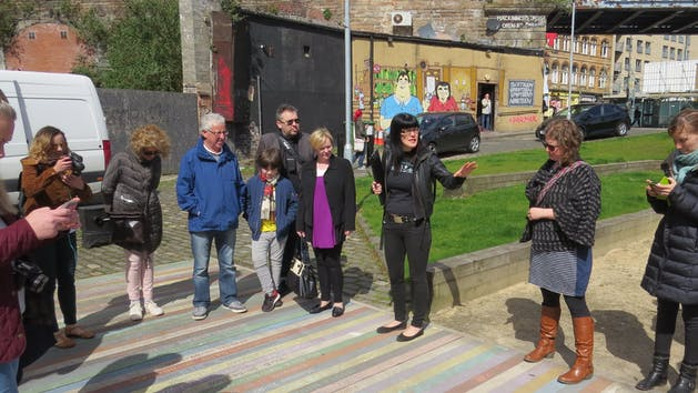 Fiona shepherd with tour group Barrowland Pathway April 17