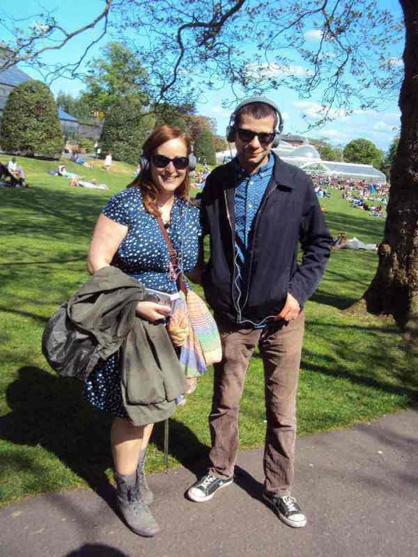 Mallory and Vlad enjoy the sun and the sounds in The Botanics.