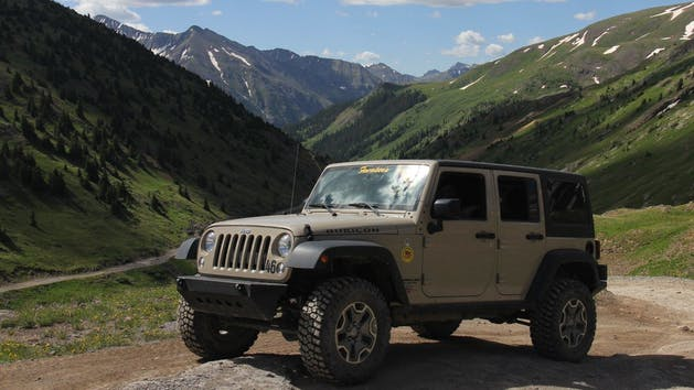 4 Door Jeep Rubicon in the mountains.