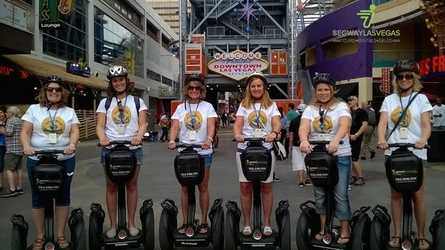 A tour group in las vegas, six people on Segways