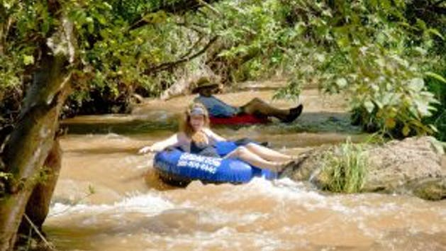 Inflatable kayak on Verde River