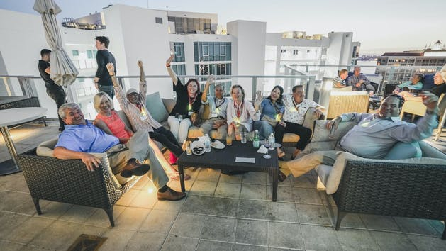 Group on Rooftop Patio