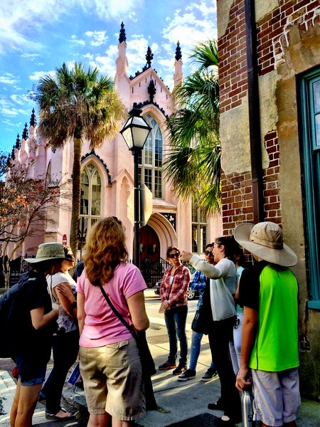 History Tour in front of the French Huguenot Church.