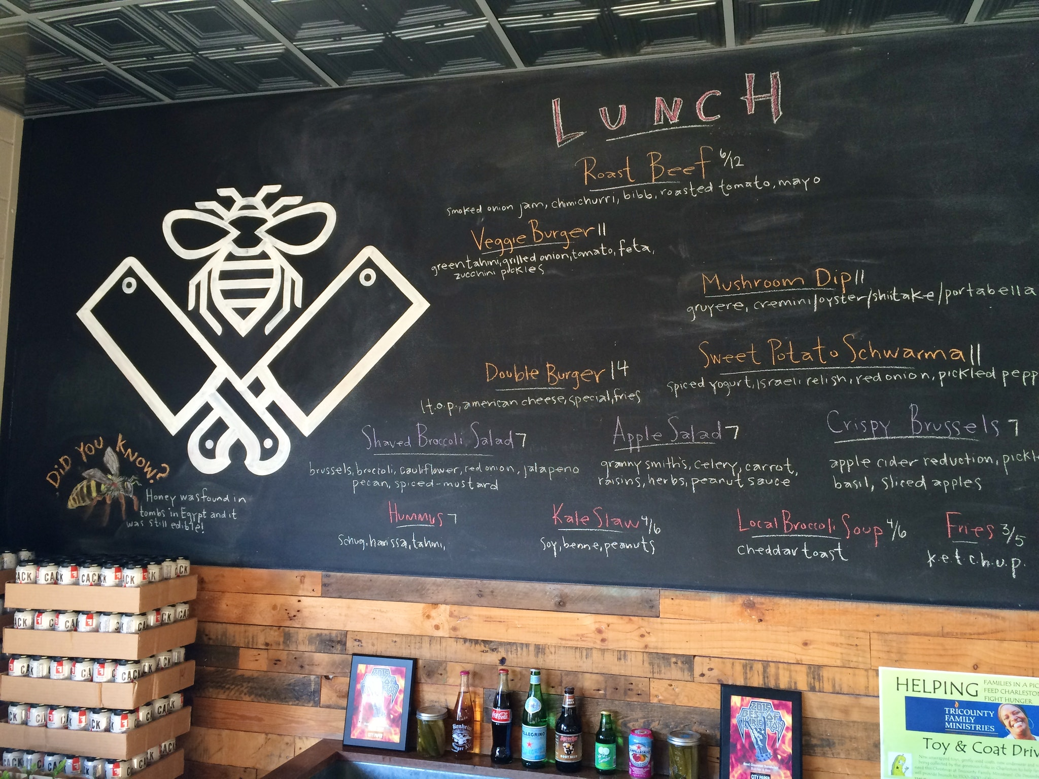 Butcher & Bee chalkboard menu
