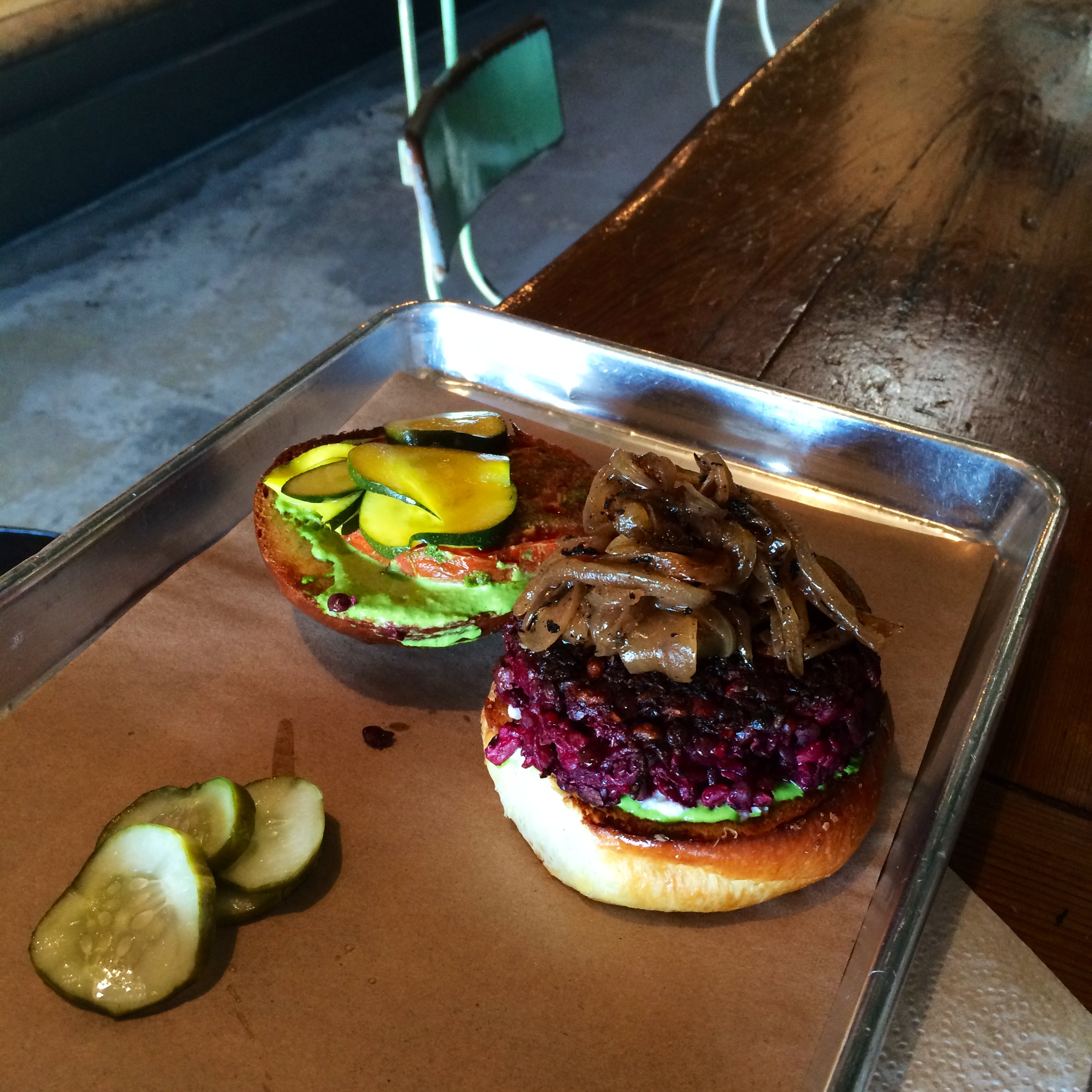 Veggie Burger made with beets from Butcher & Bee