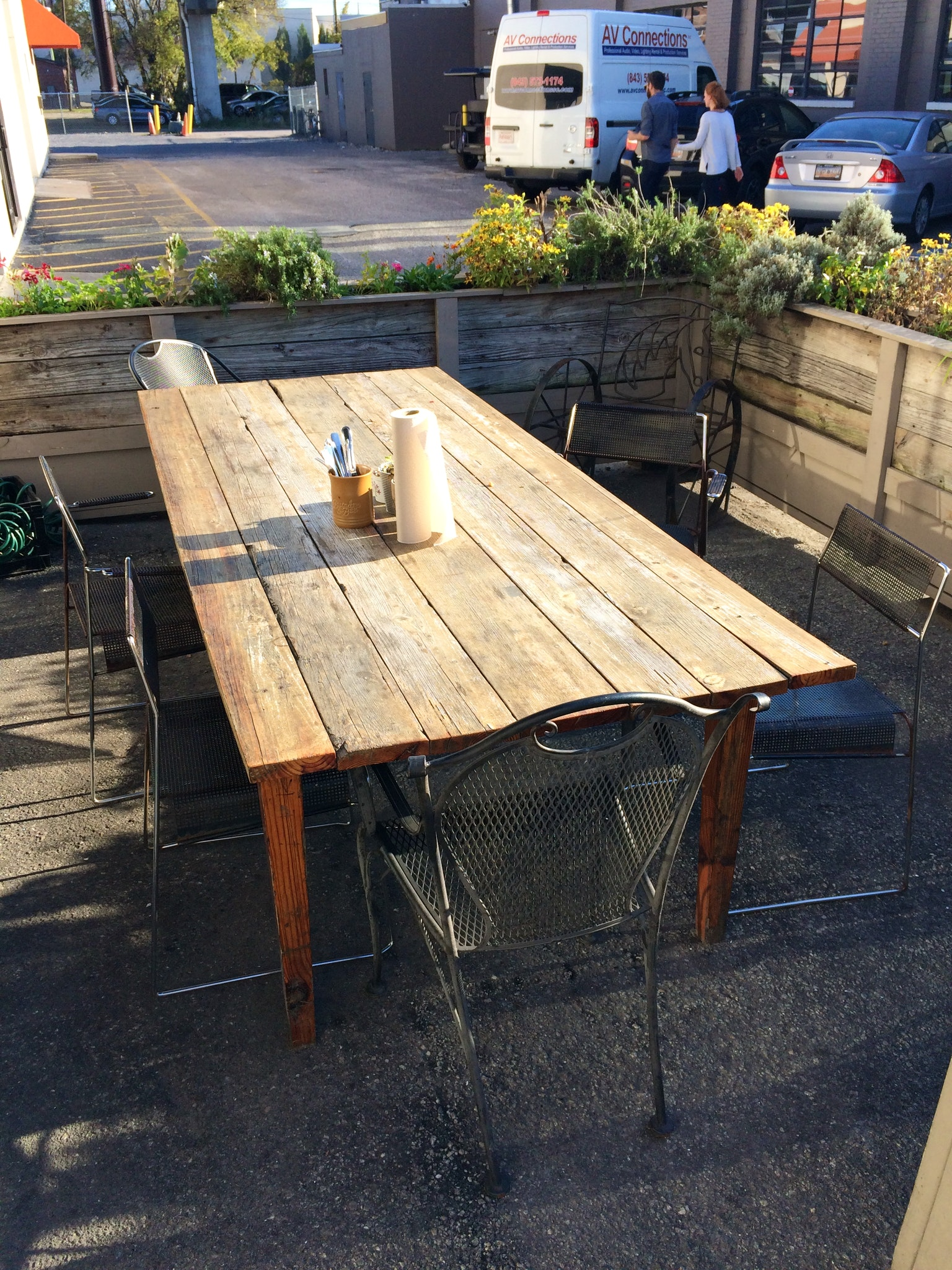 Patio seating at Butcher & Bee