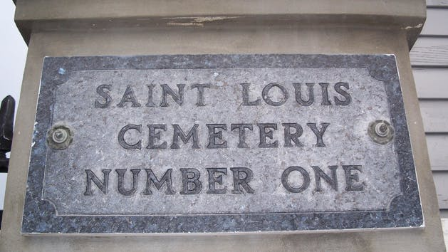 Saint Louis Cemetery Number One stone sign, New Orleans, LA