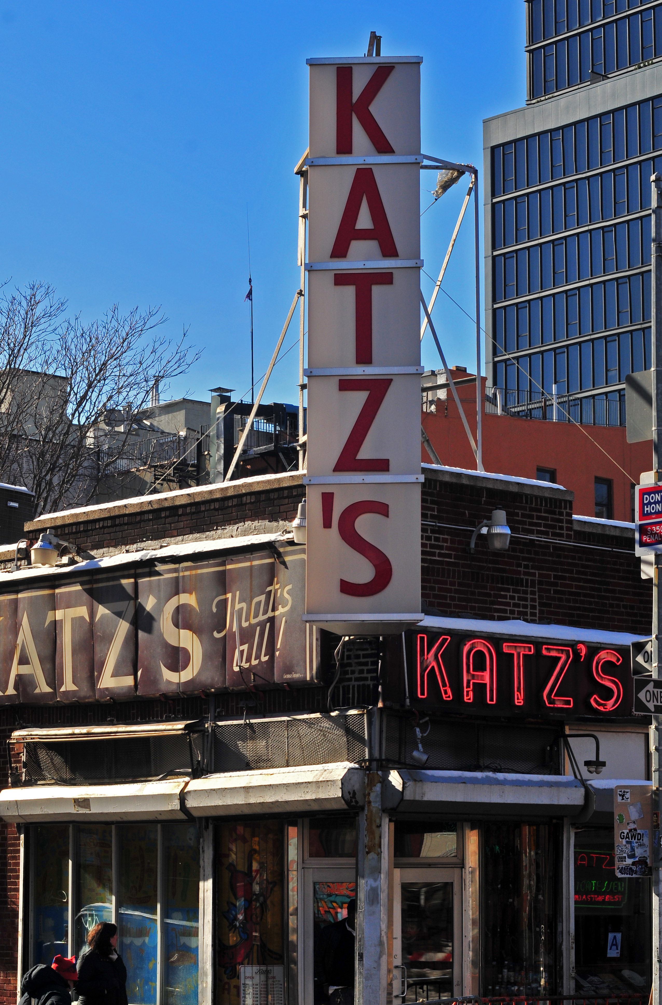 A photo of the exterior and signboard of Kat'z Deli
