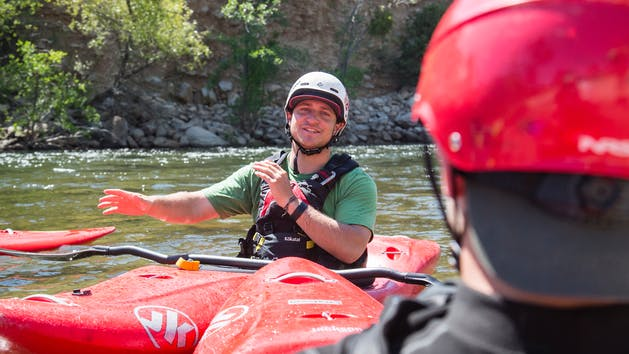 Kayak Instructor Johnny Chase teaching