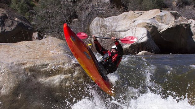 Kayaker Down River Freestyles the Kern River