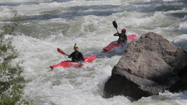 Two Whitewater Kayakers on Kern River