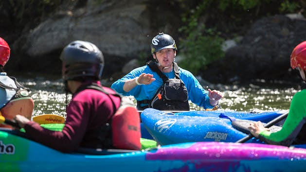 Instructor teaches Sierra South Kayak 201 class