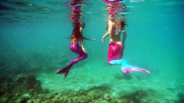 Two mermaids with their heads above water swimming in the water in Honolulu