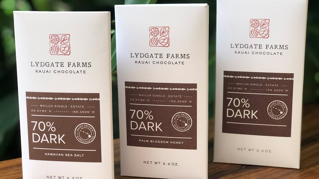 lydgate farms chocolate bars sitting on a table