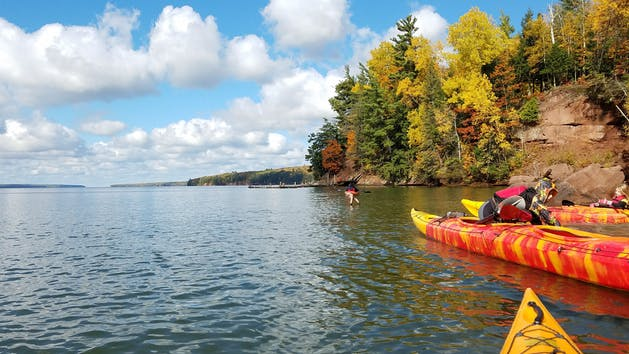 kayaking while the leaves change on Apostle Island