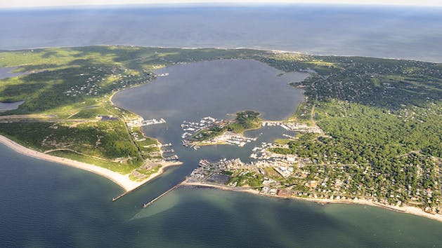 Lake Montauk from a drone Camera