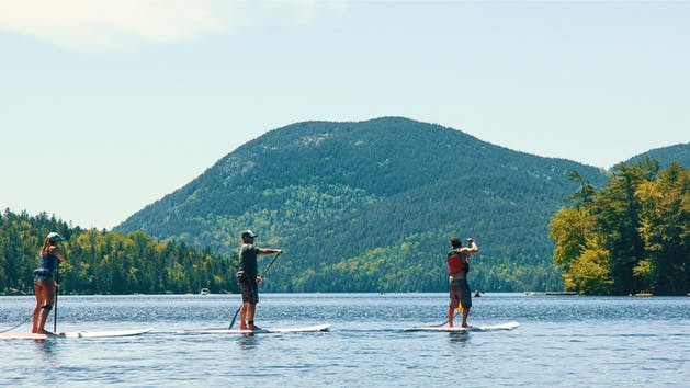 paddle boarding on long pond