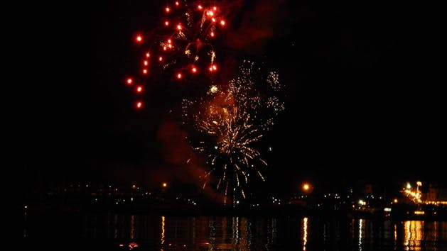 Fireworks above water