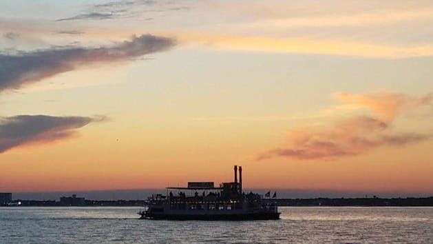 riverboat at sunset