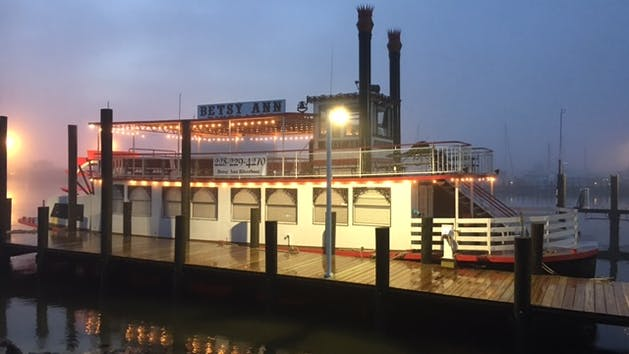 river boat at dusk
