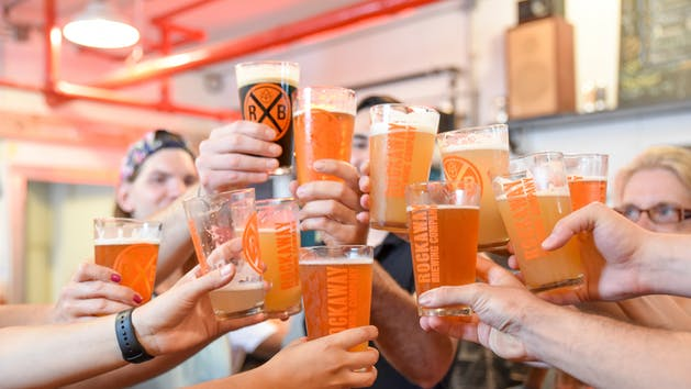 NYC Beer Tour Toast at Rockaway Brewing Company