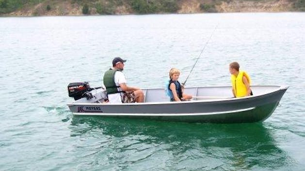 Family in fishing boat