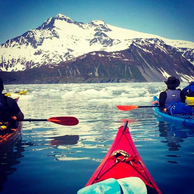 Kayaking with ice in a small group