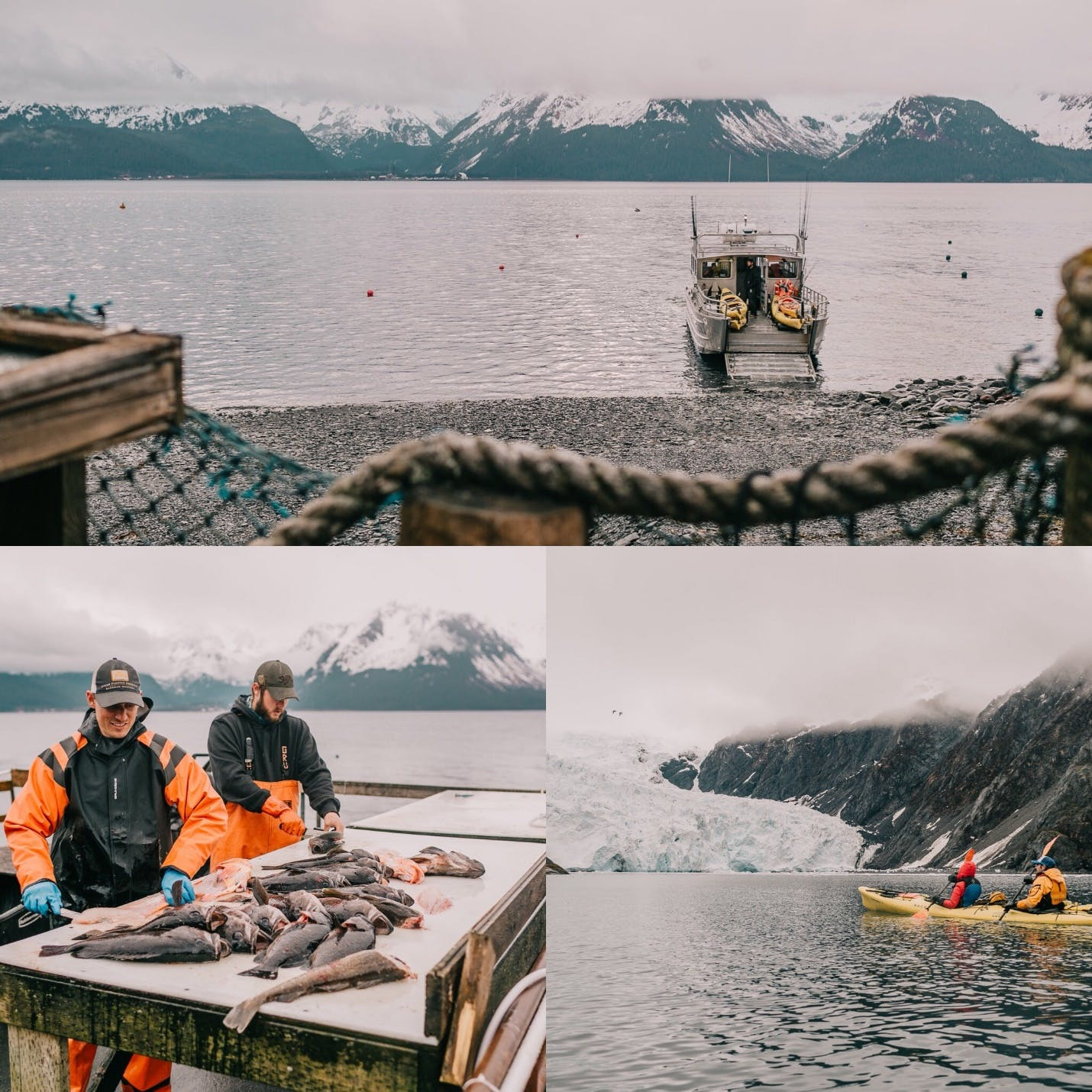 Michael A water taxi & the catch from a Best of Alaska half day fishing, sightseeing & glacier kayaking tour