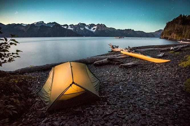 Tent camp on the beach out of Seward Alaska by kayak in Resurrection Bay
