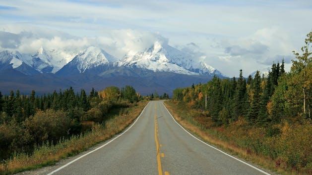 The roadway through Alaska