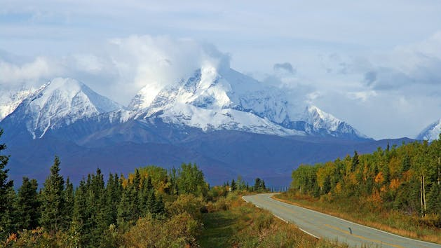the open road with mountains near Seward Alaska
