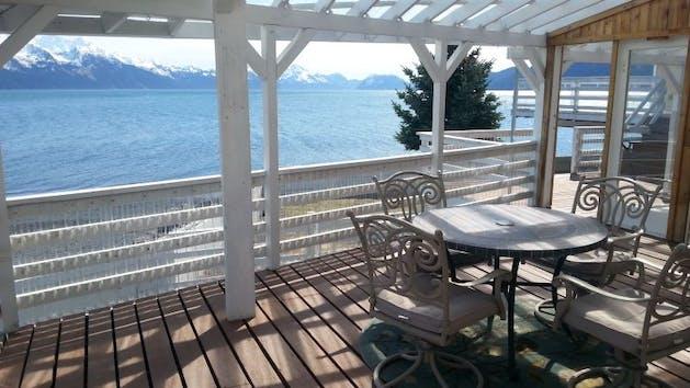 the deck of the Oceanfront Inn in Seward Alaska
